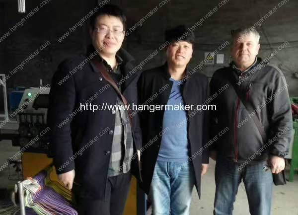 USA Customer Visit Factory for Testing Plastic Coated Wire Hanger Making Machine